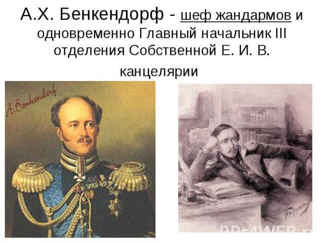 А.Х. Бенкендорф - шеф жандармов и одновременно Главный начальник III отделения Собственной Е. И. В. канцелярии