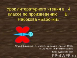 Урок литературного чтения в 4 классе по произведению В. Набокова «Бабочки»Автор: