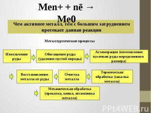 Men+ + nē → Me0 Чем активнее металл, тем с большим затруднением протекает данная