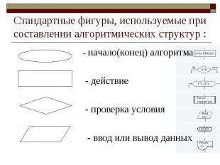 Стандартные фигуры, используемые при составлении алгоритмических структур : - на