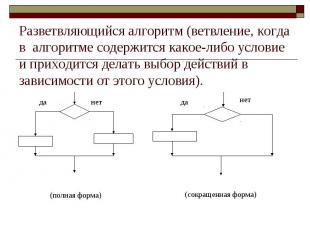 Разветвляющийся алгоритм (ветвление, когда в алгоритме содержится какое-либо усл