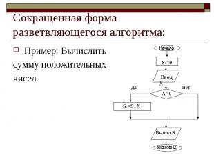 Сокращенная форма разветвляющегося алгоритма: Пример: Вычислитьсумму положительн