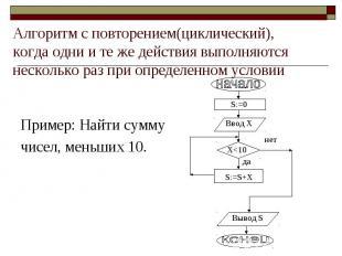 Пример: Найти сумму чисел, меньших 10. Алгоритм с повторением(циклический), когд