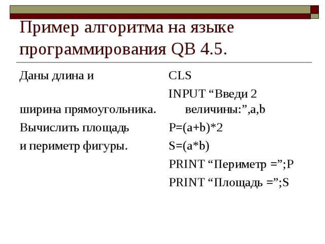 """Пример алгоритма на языке программирования QB 4.5. Даны длина и ширина прямоугольника. Вычислить площадь и периметр фигуры. CLSINPUT """"Введи 2 величины:"""",a,bP=(a+b)*2S=(a*b)PRINT """"Периметр ="""";PPRINT """"Площадь ="""";S"""