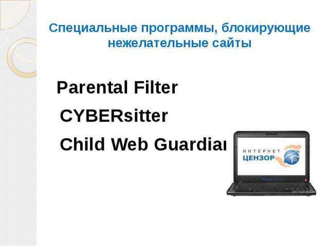 Специальные программы, блокирующие нежелательные сайты Parental Filter CYBERsitter Child Web Guardian
