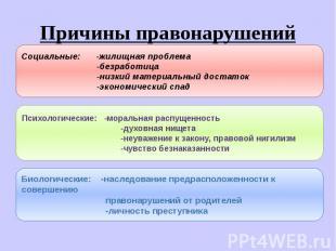 Причины правонарушений Социальные: -жилищная проблема -безработица -низкий матер