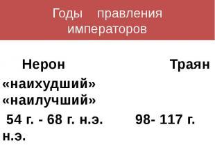 Годы правленияимператоров Нерон Траян«наихудший» «наилучший» 54 г. - 68 г. н.э.