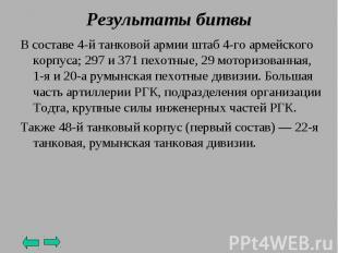 В составе 4-й танковой армии штаб 4-го армейского корпуса; 297 и 371 пехотные, 2