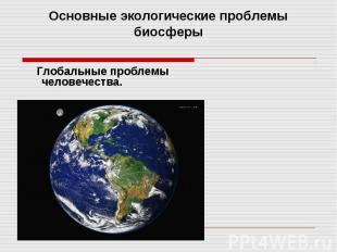 Основные экологические проблемы биосферы. Глобальные проблемы человечества