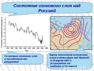 Состояние озонового слоя над Россией Состояние озонового слоя и последствия его