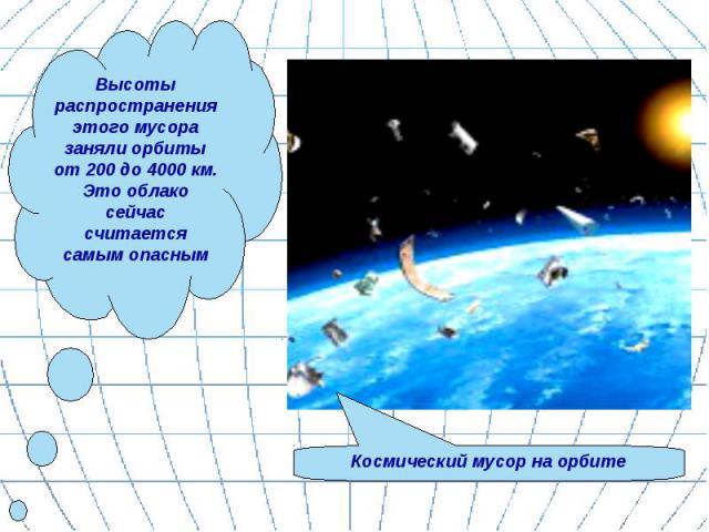 Высоты распространения этого мусора заняли орбиты от 200 до 4000 км. Это облако сейчас считается самым опасным