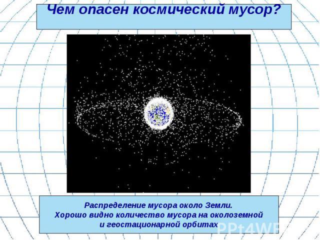 Чем опасен космический мусор? Распределение мусора около Земли. Хорошо видно количество мусора на околоземной и геостационарной орбитах
