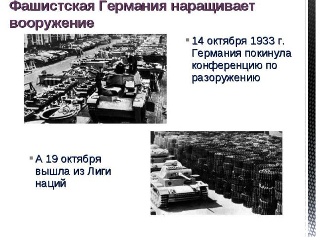 Фашистская Германия наращивает вооружение 14 октября 1933 г. Германия покинула конференцию по разоружению А 19 октября вышла из Лиги наций