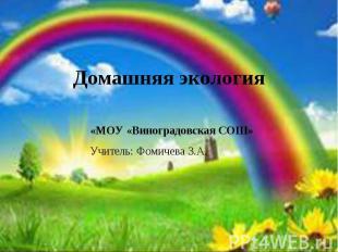 Домашняя экология «МОУ «Виноградовская СОШ»Учитель: Фомичева З.А.