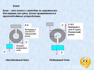 Блок – это колесо с желобом по окружности для каната или цепи. Блоки применяются