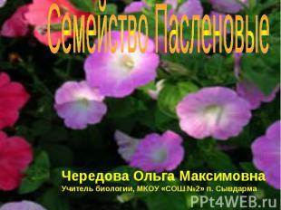 Семейство Пасленовые Чередова Ольга МаксимовнаУчитель биологии, МКОУ «СОШ №2» п.