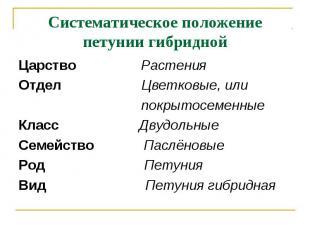 Систематическое положение петунии гибридной Царство РастенияОтдел Цветковые, или