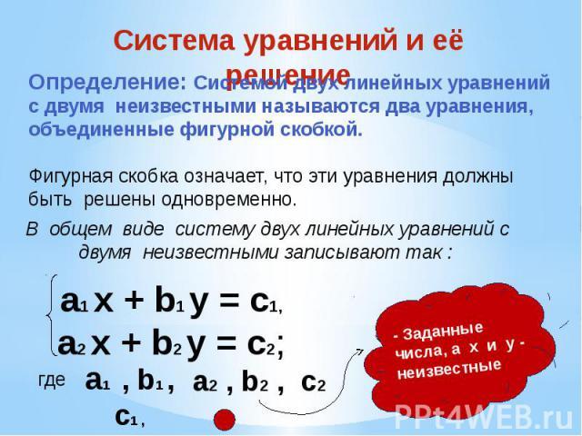 Система уравнений и её решение Определение: Системой двух линейных уравнений с двумя неизвестными называются два уравнения, объединенные фигурной скобкой. Фигурная скобка означает, что эти уравнения должны быть решены одновременно. а1 х + b1 y = c1,…
