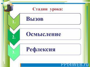 1.Вызов 2.Осмысление 3.Рефлексия