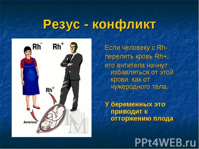Резус - конфликт Если человеку с Rh- перелить кровь Rh+, его антитела начнут избавляться от этой крови, как от чужеродного тела. У беременных это приводит к отторжению плода