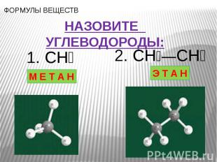 НАЗОВИТЕ УГЛЕВОДОРОДЫ: 1. CH₄ М Е Т А Н 2. CH₃—CH₃ Э Т А Н