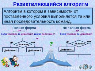 Разветвляющийся алгоритм Алгоритм в котором в зависимости от поставленного услов