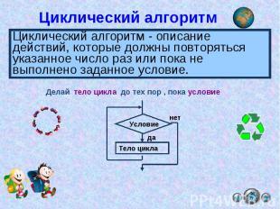 Циклический алгоритм Циклический алгоритм - описание действий, которые должны по