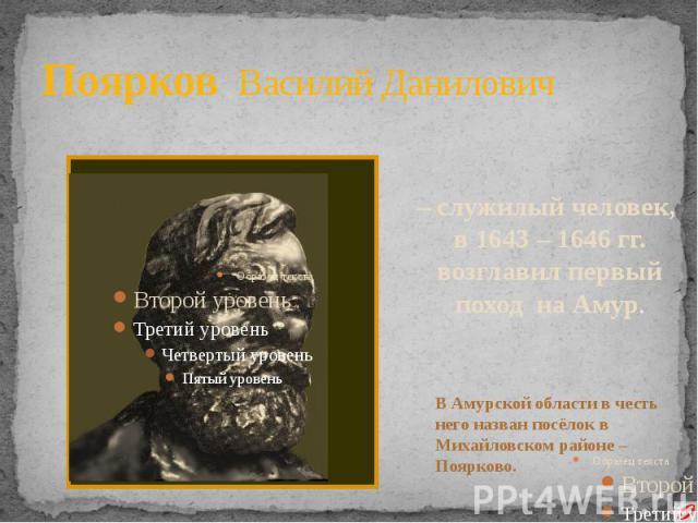 Поярков Василий Данилович – служилый человек, в 1643 – 1646 гг. возглавил первый поход на Амур. В Амурской области в честь него назван посёлок в Михайловском районе – Поярково.
