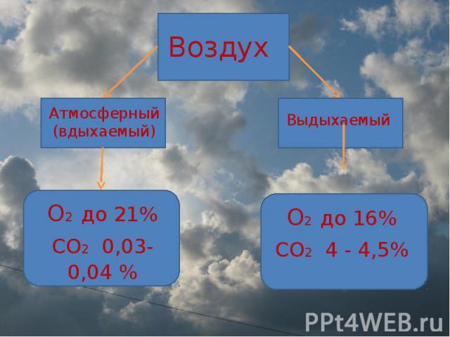 Воздух Атмосферный (вдыхаемый) О2 до 21%СО2 0,03-0,04 % Выдыхаемый О2 до 16%СО2 4 - 4,5%