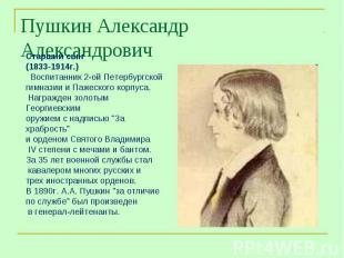 Пушкин Александр Александрович Старший сын(1833-1914г.) Воспитанник 2-ой Петербу