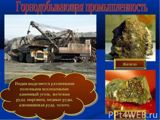 Горнодобывающая промышленность Индия выделяется различными полезными ископаемыми: каменный уголь, железная руда, марганец, медные руды, алюминиевая руда, золото.