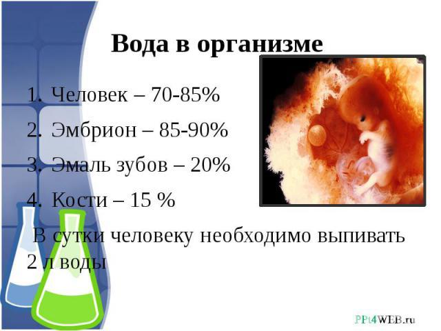 Вода в организме Человек – 70-85%Эмбрион – 85-90%Эмаль зубов – 20%Кости – 15 % В сутки человеку необходимо выпивать 2 л воды