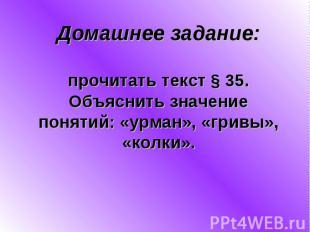 Домашнее задание:прочитать текст § 35.Объяснить значениепонятий: «урман», «гривы