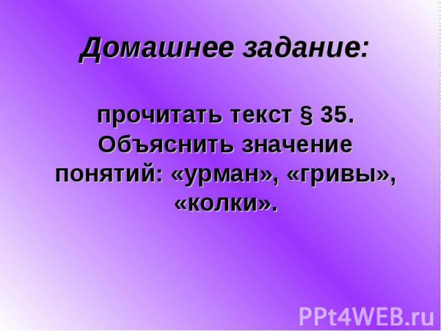 Домашнее задание:прочитать текст § 35.Объяснить значениепонятий: «урман», «гривы»,«колки».