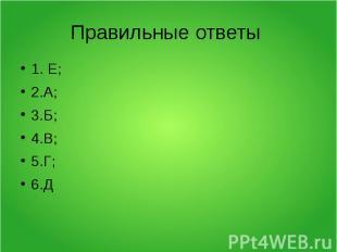Правильные ответы 1. Е;2.А;3.Б;4.В;5.Г;6.Д