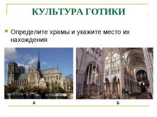 КУЛЬТУРА ГОТИКИОпределите храмы и укажите место их нахождения