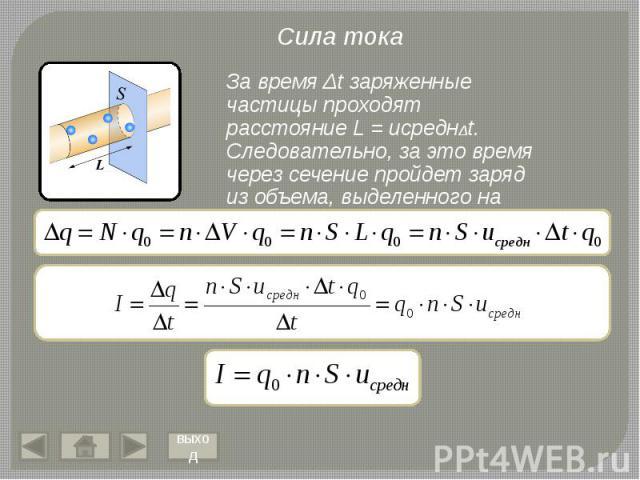 За время Δt заряженные частицы проходят расстояние L = uсреднΔt. Следовательно, за это время через сечение пройдет заряд из объема, выделенного на рисунке.