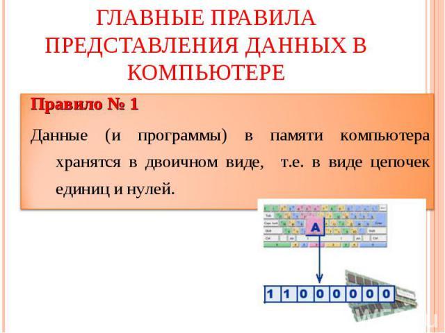 Главные правила представления данных в компьютере Правило № 1Данные (и программы) в памяти компьютера хранятся в двоичном виде, т.е. в виде цепочек единиц и нулей.