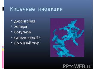 Кишечные инфекции дизентерияхолеработулизмсальмонеллёзбрюшной тиф