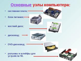 системная плата;системная плата;блок питания;жесткий диск;дисковод;DVD-дисковод;
