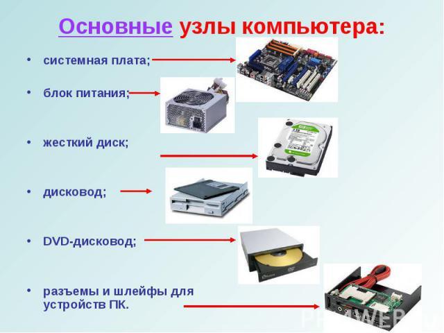 системная плата;системная плата;блок питания;жесткий диск;дисковод;DVD-дисковод;разъемы и шлейфы для устройств ПК.