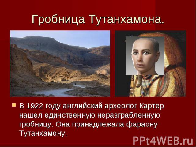 Гробница Тутанхамона. В 1922 году английский археолог Картер нашел единственную неразграбленную гробницу. Она принадлежала фараону Тутанхамону.