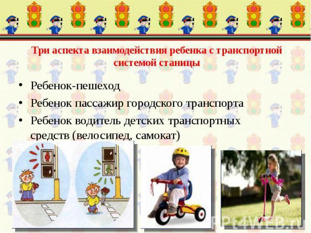 Ребенок-пешеход Ребенок пассажир городского транспорта Ребенок водитель детских транспортных средств (велосипед, самокат)