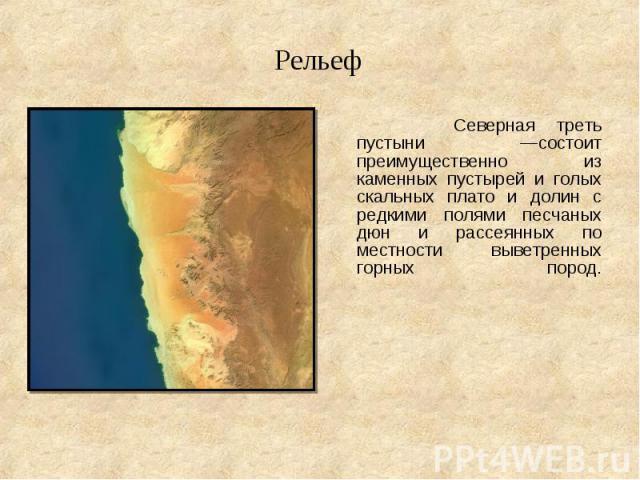 Северная треть пустыни —состоит преимущественно из каменных пустырей и голых скальных плато и долин с редкими полями песчаных дюн и рассеянных по местности выветренных горных пород. Северная треть пустыни —состоит преимущественно из каменных пустыре…