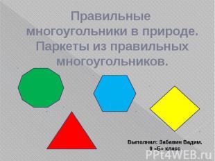 Правильные многоугольники в природе. Паркеты из правильных многоугольников.