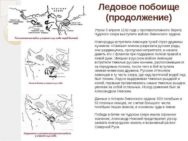 Ледовое побоище (продолжение) Утром 5 апреля 1242 года с противоположного берега Чудского озера выступило войско Ливонского ордена. Новгородцы встретили ливонцев тучей стрел дружины лучников. «Свинья» клином разрезала русские ряды, они раздвинулись,…