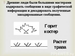 Древние люди были большими мастерами кодировать сообщения в виде графической инф