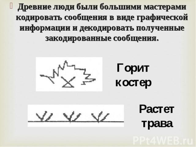 Древние люди были большими мастерами кодировать сообщения в виде графической информации и декодировать полученные закодированные сообщения. Древние люди были большими мастерами кодировать сообщения в виде графической информации и декодировать получе…
