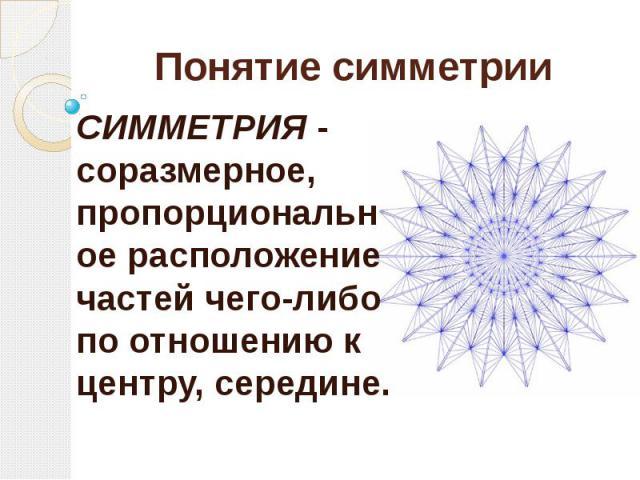 Понятие симметрии СИММЕТРИЯ - соразмерное, пропорциональное расположение частей чего-либо по отношению к центру, середине.