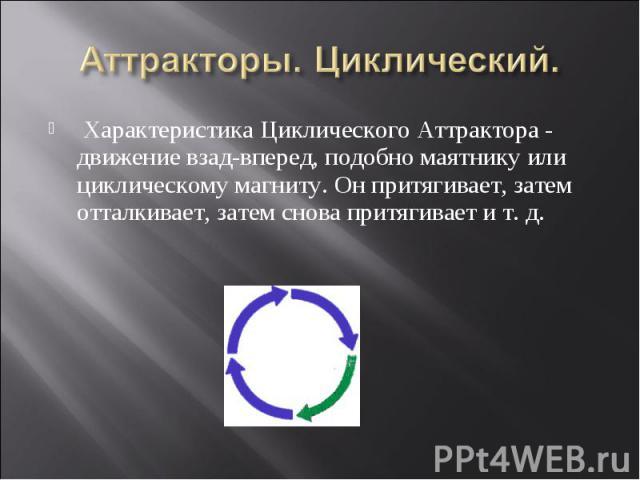 Характеристика Циклического Аттрактора - движение взад-вперед, подобно маятнику или циклическому магниту. Он притягивает, затем отталкивает, затем снова притягивает и т. д. Характеристика Циклического Аттрактора - движение взад-вперед, подобно маятн…